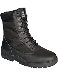 Black Leather Army Combat Patrol Boots Tactical Cadet Military Security Police