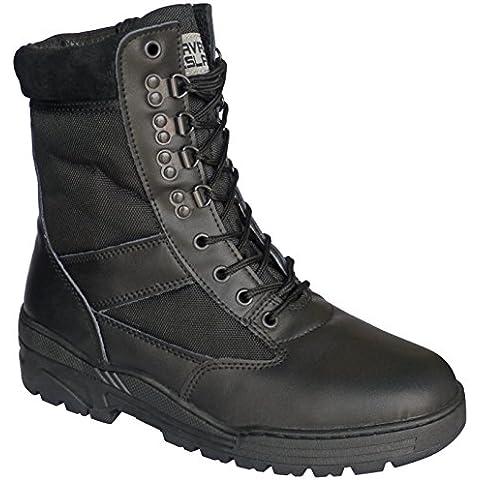 Piel de color negro botas de Patrol táctico de combate del ejército cadete Seguridad Militar