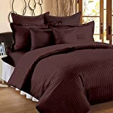 #10: BhaiJi's Elastic Fitted BedSheets King Size 300 TC Pure Cotton Satin Stripes- Coffee