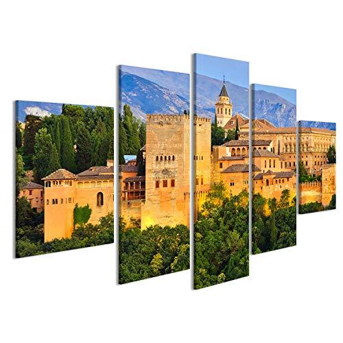 islandburner Cuadro Cuadros Alhambra, Granada, España Impresión sobre Lienzo - Formato Grande - Cuadros Modernos