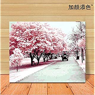 Slbince Digital Oil Painting Diy Hand-painted Customized Children's Landscape Cherry Blossom Avenue