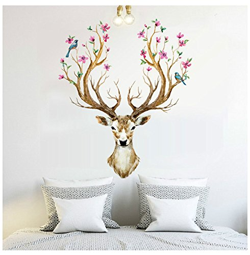 Price comparison product image Colorful Reindeer Deer Head Wall Mural Art Sticker for Room Decor Antlers