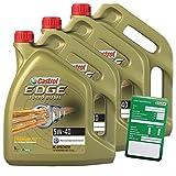3x 5 L = 15 Liter Castrol Edge Turbo Diesel Fluid Titanium 5W-40 Motoröl inkl. Castrol Ölwechselanhänger
