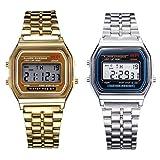 Reloj de pulsera de cronómetro con alarma digital de acero inoxidable y oro de 2 piezas