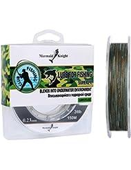 mookzz 8-Strand trenzado pesca línea–cero elástico y resistente a la abrasión superpotencia trenzado líneas–2017Nuevo y mejorado.–Más delgada, más fuerte, más suave y resistente a la decoloración, Multicolored-Green 150M