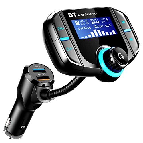 Bluetooth FM Transmitter,ICOUVA KFZ FM Transmitter Auto Wireless Radio Adapter Freisprecheinrichtung Car Kit Universal QC3.0 Quick Charger Dual USB-Port MP3 für iOS- und Android-Geräte Fm Am Ipod