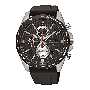 Seiko Mens Chronograph Quartz Watch with Silicone Strap SSB287P1