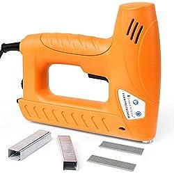 TIMBERTECH Elektrotacker inklusive 400 Klammern und 100 Nägel | Sicherheitsschalter und Anti-Stau-Mechanismus | für Holz, Textilien und Polster | Heimarbeiten Elektronagler | Tacker Nagler