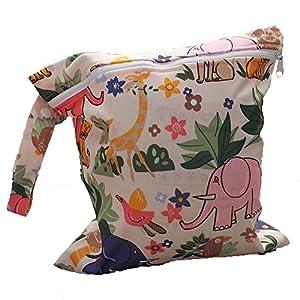 Toruiwa Wickeltaschen Baby Wasserdicht wiederverwendbar Babytuchwindel Tasche mit süßes Tiermuster Reißverschluss Tasche Aufbewahrungstasche für Reise nass und trocken Kleidung
