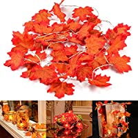 UNEEDE Fall Garland Lights, Fall Maple Leaves String Light, 6.56ft /20 Led Maple Fairy Light, 3AA Battery Powered Led Maple Garland Harvest Autumn Leave Light Thanksgiving,Halloween, Birthday Decora