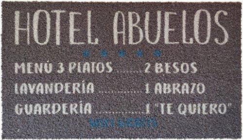 Kook Time Felpudo Hotel Abuelos, Nylon, Gris, 70x40x3 cm
