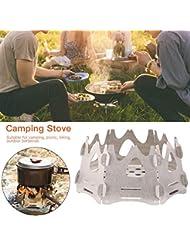 duhe189014 Estufa de Camping Estufa de Acero Inoxidable Liviana portátil Estufa de leña para Caminatas Picnic