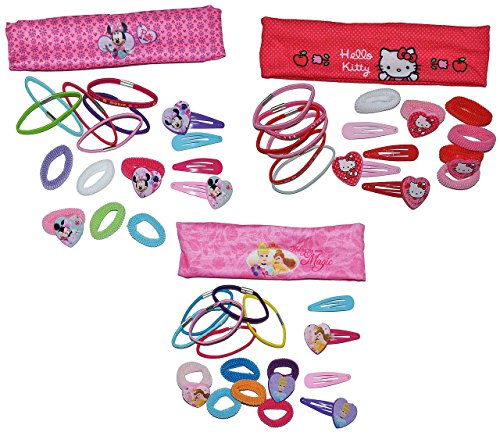 3 Set´s: Haarband + Haarspangen + Haargummi - für Mädchen / Kinder - Minnie Mouse - Hello Kitty - Princess Prinzessinnen - Schmuck Haarschmuck - Blumen rosa Accessoires Haarspange / Haarspangen - Haarclips - Haargummis / Haarzopf