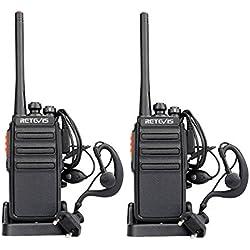 Retevis RT24 Walkie Talkie PMR446 Recargable con 16 Canales de Largo Alcance de Potencia 0.5 W sin Licencia VOX Pinganillo y Cargado Europea(Negro,1Par)