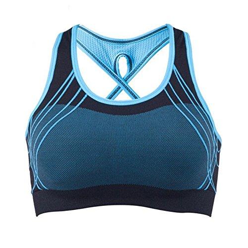 Moresave Reggiseno di Yoga Sport Donna Spinga in su il cinturino trasversale di sostegno posteriore del reggiseno di allenamento di forma fisica di forma fisica del reggiseno blu