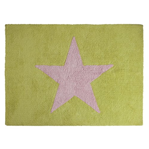 Happy Décor enfants Tapis lavable (120x 160cm, Pistache/rose, Big Star)