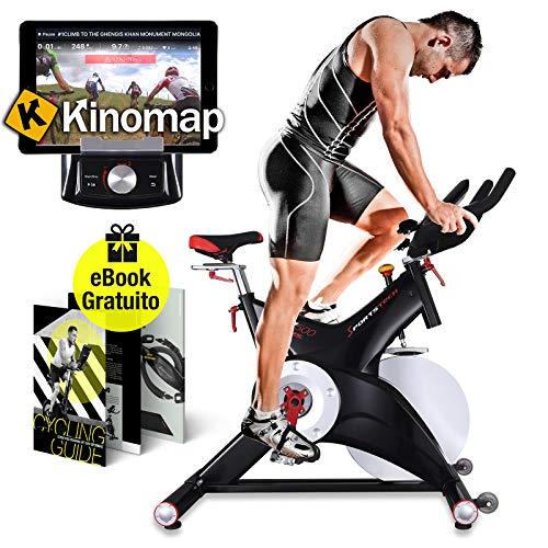 Sportstech Cyclette Professionale SX500 con Controllo per App con Smartphone, volano da 25KG, Supporto Braccia - Veloce e di Alta qualità con Sistema a Scatto SPD E-Book Gratis