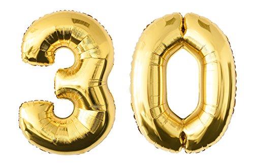 allon Zahlenluftballon in der Farbe gold Heliumballon Riesenzahl Luftballon Party Kindergeburtstag Geburtstag Deko 100 cm (30 - Gold) (30. Geburtstag Party-ideen Für Ihr)