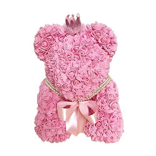 Wovemster Peluche Orso Rosa Fiore DIY Rose Bear Everlasting Flower Doll simulato Rose Doll Handmade PE Fiore Dollvalentines Day Regalo per Fidanzata Rosa
