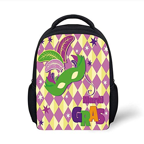 Mardi Gras,Checkered Pattern with Stars Graphic Mask Harlequin Festival Composition Decorative,Pink Yellow Green Plain Bookbag Travel Daypack ()