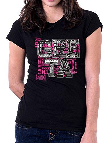 Tshirt con nome Greta e aggettivi simpatici - compleanno - idea regalo Nero