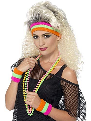 Halloweenia - Kostüm Accessoires Zubehör 80er Jahre Neon Schweißbänder und Stirnband im Fitness Stil, perfekt für Karneval, Fasching und Fastnacht, ()