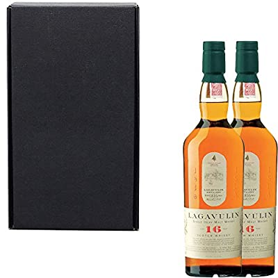 2 x Lagavulin 16 Year Old Single Malt Scotch Whisky in Matt Black Gift Box With Handcrafted Gifts2Drink Tag