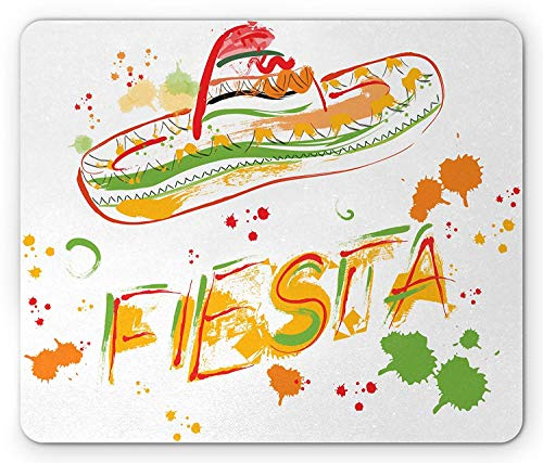 and Drawn Fiesta and Sombrero Straw Hat Motifs with Watercolors Splashes Image, Standard Size Rectangle Non-Slip Rubber Mousepad, Green Orange ()