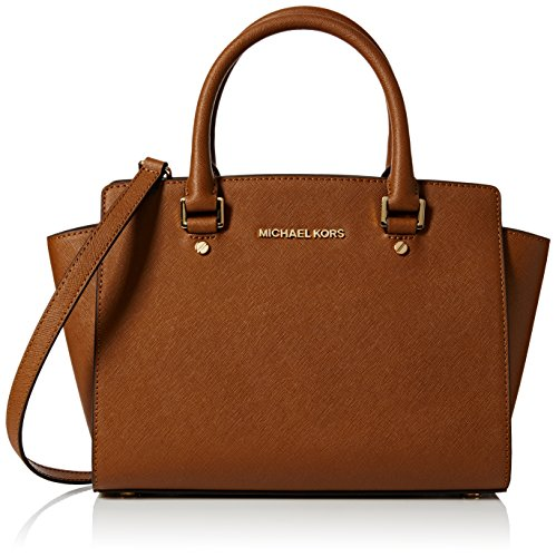 Michael Kors Damen Selma Medium Satchel Henkeltaschen, Braun (Luggage 230), 33x20x10 cm