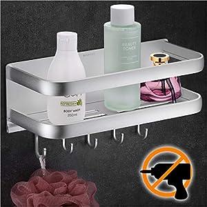 Wangel Duschkorb Duschablage ohne Bohren, mit 5 Haken, Patentierter Kleber + Selbstklebender Kleber, Aluminium, Matte…