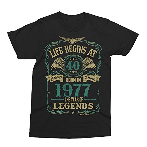 Life Begins At 40 Hombres Camiseta - BORN In 1977 Year of Legends ... 163654f98cee3