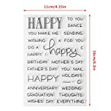 ECMQS Happy Words DIY Transparente Briefmarke, Silikon Stempel Set, Clear Stamps, Schneiden Schablonen, Bastelei Scrapbooking-Werkzeug