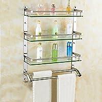 Estante de cristal del cuarto de baño del estante del acero inoxidable 304 Soporte montado en la pared soporte cosmético del frente del espejo de 3 capas ( Tamaño : 60cm ) - mueblesdebanoprecios.eu - Comparador de precios