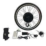BlackPJenny Kit di conversione bici elettrica E 1000W 26'Mozzo della bicicletta del motore della ruota anteriore 48V Kit di utensili in lega di alluminio Sensore di velocità della manovella
