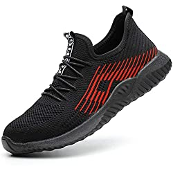 SUADEEX - Zapatos de Trabajo para Hombre y Mujer, con Puntera de Acero, Transpirables, Ligeros, Deportivos, de Trekking, de Senderismo, de Malla, con protección, Color Rojo, Talla 42 EU