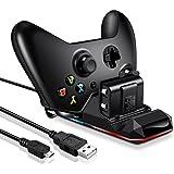 Xbox one Akku (2 Stück) und Controller Ladestation Set, ECHTPower Ladegerät und wiederaufladebare Batterie für Xbox One / Slim / Elite Wireless Controller, Schnellladefunktion , Kapazität des Ersatzakkus 1100mAh