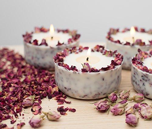 Duftkerze Soja Echte Rote Rosen Geschenk Valentinstag Kerze aus Bio Sojawachs ätherisches Öl lange Brenndauer - 5