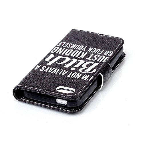 iPhone 5C Hülle, iPhone 5C Case, ISAKEN iPhone 5C Hülle Muster, Handy Case Cover Tasche for iPhone 5C, Bunte Retro Muster Druck Flip Cover PU Leder Tasche Case Schutzhülle Hülle Handy Tasche Etui Scha Schwarz Weiß Letters