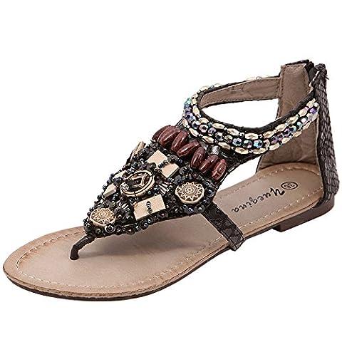 Oasap Women's Bohemian Flat Heels Back Zip Beads Thong Sandals, Black EURO37/US6/UK4