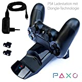 Paxo double PS4 charging station for DualShock 4 controller - Charger Docking Station for two Sony Playstation 4 Controller incl. 2 dongles and power supply, black, elegant design