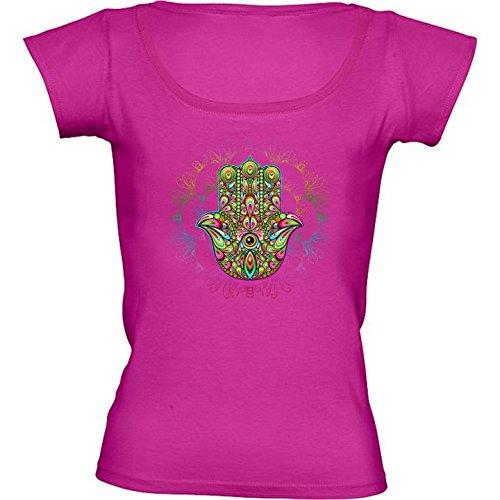camiseta-rosa-fuschia-con-cuello-redondo-para-mujeres-tamano-m-hamsa-amuleto-psicodelico-by-bluedark