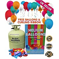 Allkindathings Disposable Helium Large Gas Canister Cylinder To Fill 50 Balloons with Balloons Included