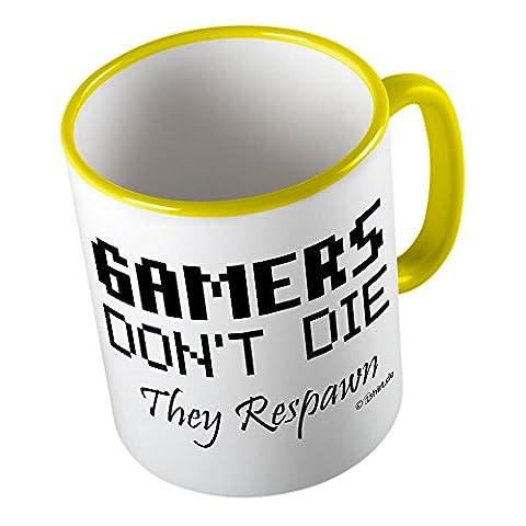 Gamers dont die they respawn ★ Tasse amusante – Grande tasse à café – Tasse à thé ★ imprimé de haute qualité et slogan amusant ★ Le cadeau parfait en toute occasion