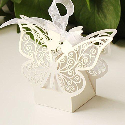 50pcs laser cut farfalla matrimonio festa di compleanno regali caramelle scatole bomboniere