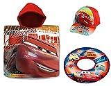 Kit Set Mare Bambino Cars Disney Poncho Telo Mare + Cappello con Visiera + Salvagente Mare Ciambella Saetta MC Queen Cotone