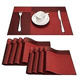 TOP Marques Collectibles Top Finel Umweltfreundlich Bambus Abwaschbar PVC Platzmatten-Set Tischsets Platzdeckchen Tischmatte Dekorativ Unterlage 30x45cm,8Set,Rot