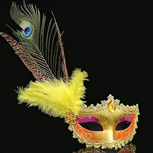 Yiqiane Pfauenaugenmaske, mit Federn Venezianische Maskerade Partei Masken Diamind Frauen Sexy Halbe Gesichtsmaske für Kostüm Halloween Cosplay Kostüm Karneval Ball (Color : Yellow) (Lila Feder Maske Mit Pailletten)