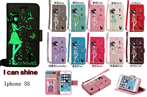 iPhone 5 Hülle Flip-Case Premium Kunstleder Tasche im Bookstyle Klapphülle mit Weiche Silikon Handyhalter Lederhülle für Apple iPhone 5 5S SE Luminous Mädchen Katze case Hülle +Stöpsel Staubschutz (7) 9