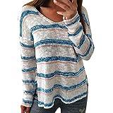 Sunday Damen Pullover Gestreift Langarmshirt Frauen Tunika T-Shirt Bluse Langarm Jumper Lässige Lose Shirt WinterHemd V-Ausschnitt Strickpullover Oberteile