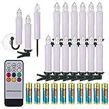 40/30/20/10x Set LED Kerzen Weihnachtskerzen mit Batterien Fernbedienung Timer RGB&Warmweiß inkl. Klammer Saugnapf Steckdorne für Auß-Innen Weihnachten Weihnachtsbaum Hochzeit Partys Deko (Weiß, 30x)